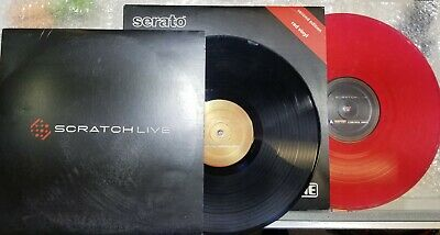 2 Serato Scratch Control Vinyls Black & Red, Used - Rane