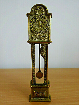 Vintage Antique Solid Brass Miniature Grandfather Clock With Pendulum Ornament