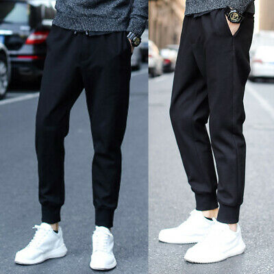 Mens Youth Track Pants Gym Sports Fleece Trousers Casual Joggers M L XL  @M