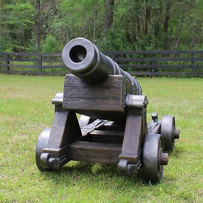 Cannon on faux Wood Base Looks Like Heavy Cast Iron Pirate Ship Statue
