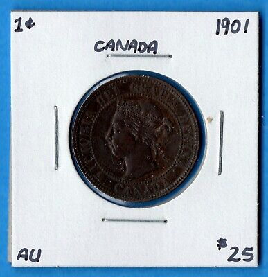 Canada 1901 1 Cent One Large Cent Coin - About Uncirculated