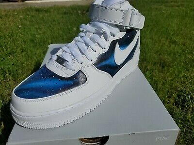 official photos 9c4ab 2fb69 NIKE AIR FORCE 1 MID   HAND PAINTED BLUE GALAXY PATTERN (SPACE STONE AF1 s)