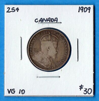 Canada 1909 25 Cents Twenty Five Cent Silver Coin - VG-10