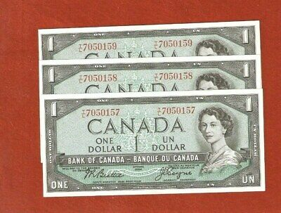 3 1954 Consecutive Serial Number One Dollar Bank Notes Gem Uncircullated E550