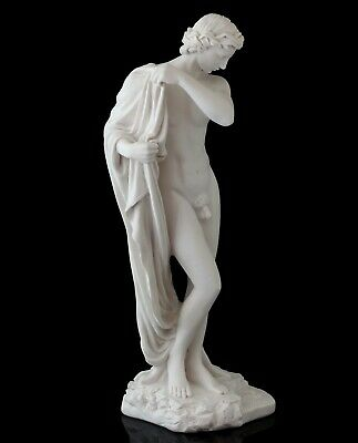 Narcissus Greek Myths Hero Marble Statue Stone Figurine Nude Male Sculpture 11""