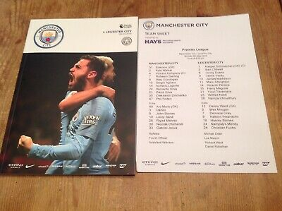 Manchester City v Leicester City football programme and teamsheet 6/5/19