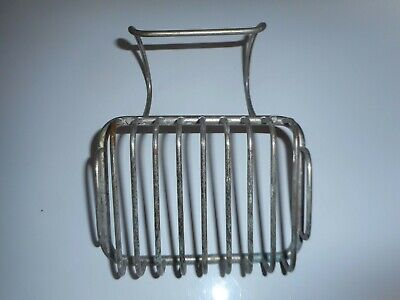 True Antique Vintage Nickel Plated Brass Over Tub Rim Soap Sponge Dish Holder