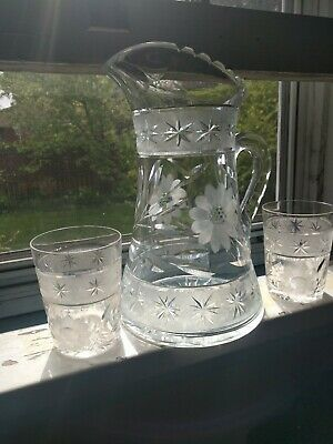 """Antique Cut & Etched Glass 10"""" Pitcher"""" With 2 Glasses                     s729"""