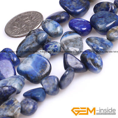 "Blue Lapis Lazuli Gemstone Freeform Loose Spacer Beads For Jewelry Making 15"" YB"