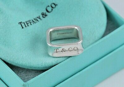 Tiffany & Co. 1837 Sterling Silver Square Wide Band Ring Size 5.5 w/ Pouch