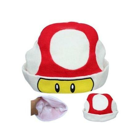 Hat Super Mario Bros Beanie Mushroom Red Toad Cosplay Plush #1