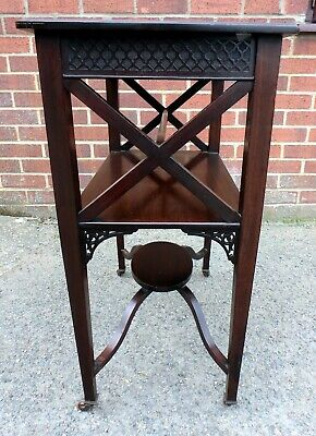 Elegant Victorian antique solid Cuban mahogany fretwork lamp console side table