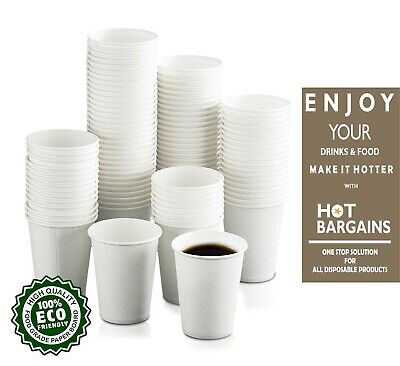 100 x Disposable Paper Cups Single Wall White Paper Cups for Hot / Cold Drinks