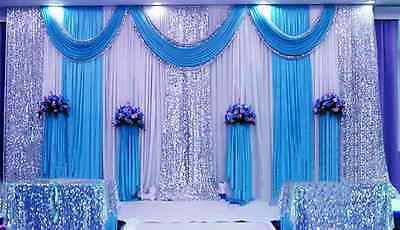 20x10 ft Wedding Stage Decor Backdrop Party Drapes Swag Ivory White Background