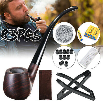83Pc Tobacco Pipe Classic Ebony Wood Tobacco Smoking Pipes +Holder +Accessories