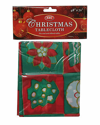 Christmas Table Cover Red Green Table Cloth Elf Xmas Party Decoration Accessory