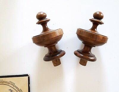 Antique wood post finial end cap topper pair French architectural salvage 5.39""