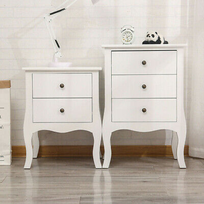 White Chest Of Drawer 2,3 Drawers Bedside Table Cabinet Wooden Bedroom Furniture