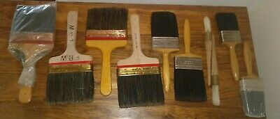 VINTAGE 1970s 10 x Professional Painter & Decorator's Brushes