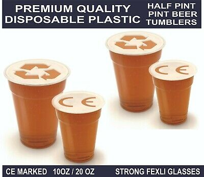 Clear Strong Plastic Pint / Half Pint Cup Disposable Beer Glasses Pint Tumblers