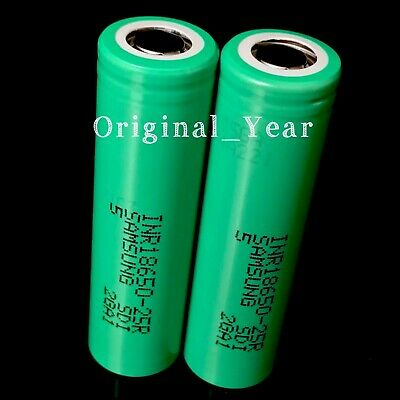 2 Samsung 25R 18650 2500mAh 35A Rechargeable Battery for Vape Mods