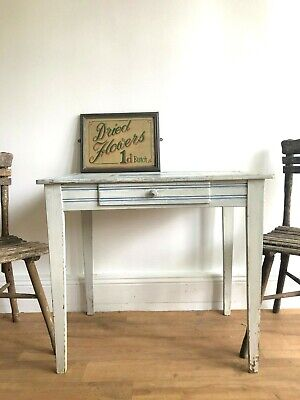Beautifully Rustic Antique French Blue and White Table In Chippy Original Paint
