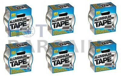 6 X Aluminium Foil Tape Heat Insulation Reflective Duct Tape Self Adhesive 10M