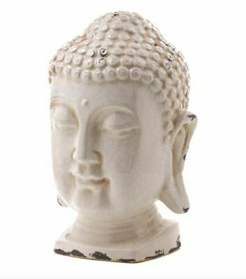 Buddha Head Table Top Crackled Sculpture Zen Peace Serenity Home Decor