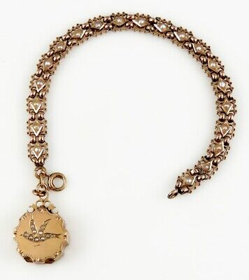Antique c1870's Seed Pearl Dove 18K Gold Locket Fob Bracelet, Truly Amazing!