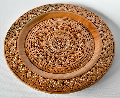 Home decor, Carved wooden plate, Wall plate, Hand carved plate, Handmade plate
