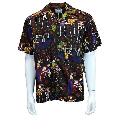 David Carey Day of the Dead Camp 2 Sugar Skulls Floral Button Down Shirt 41505