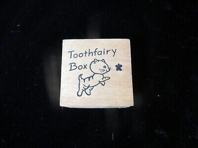 Little Wood Tooth Fairy Box with Kitty Cat Design