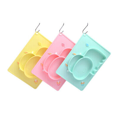Feeding Plate Food Non-slip Place Silicone Tray Integrated Mat Kids 8C