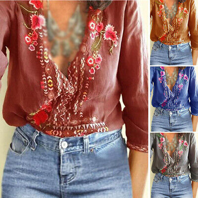 Boho Tops Blouse Vintage Casual Sexy T shirt Baggy Vest Women Embroidered Floral