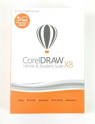 Corel CorelDRAW Home & Student Suite X8  - 3 PCs, Retail Box w/ Download Option
