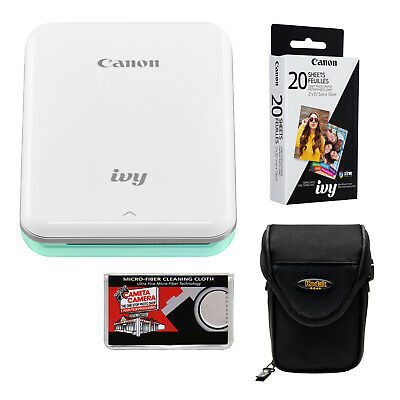 Canon IVY Wireless Bluetooth Mini Photo Printer Mint Green & Paper Bundle