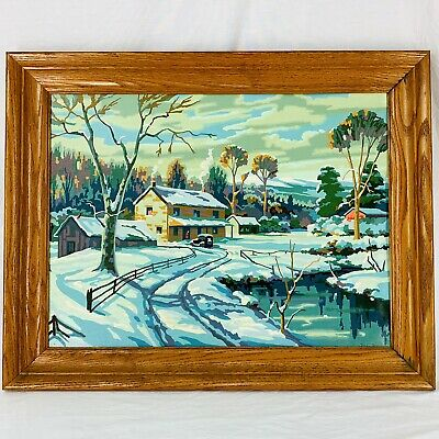 """MCM Paint By Number Painting PBN Framed Farm House Winter Snow 28.5"""" x 22.5"""""""