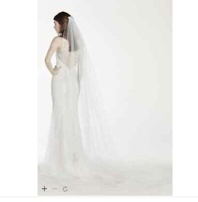 David's Bridal White One Tier Cathedral Veil with Pearl Comb