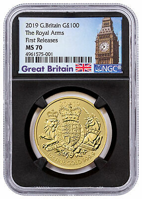 2019 Great Britain Gold Royal Arms £100 Coin NGC MS70 FR Black Core SKU57766