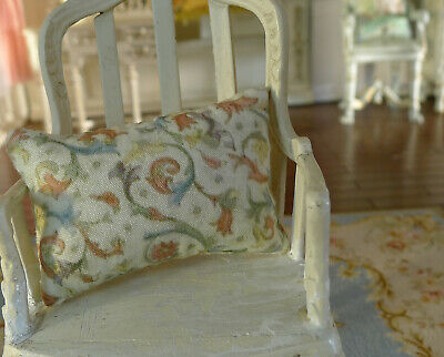 Dollhouse Miniature 1/12 Scale Pillow Colorful French Swirls