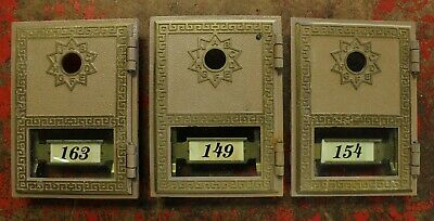 Vintage Doninger Brass Mail Box Post Office Doors - Lot of 3