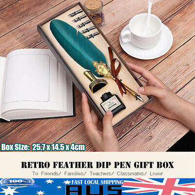 Retro Gift Feather Pen Writing Calligraphy Metal Quill Dip Pen 5 Nibs Ink Set AU