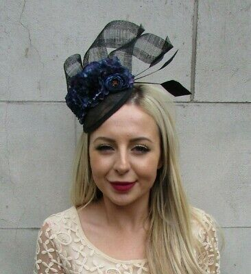 Black & Navy Blue Floral Flower Feather Hat Hair Fascinator Races Wedding 7223