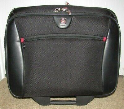 """WENGER SWISS ARMY CARRY ON ROLLING SUITCASE 17"""" Expandable Leather Trim"""