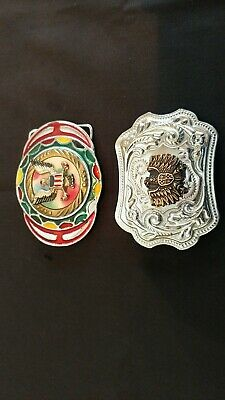 2 Vintage Belt Buckles Multi Colored American Eagle Silvertone & Goldtone Eagle