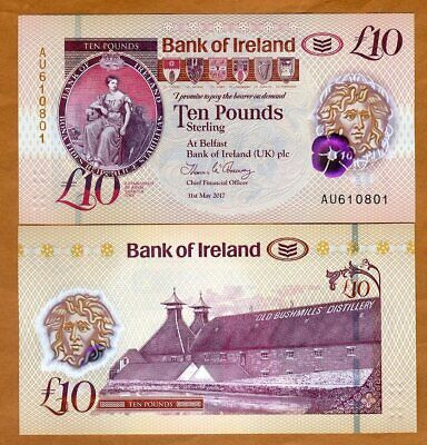 Bank of Ireland, Northern, 10 pounds, 2017 (2019), P-New Polymer, UNC