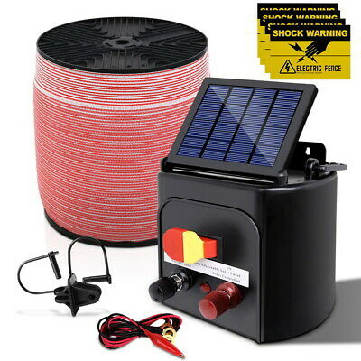 Giantz 3KM Solar Power Electric Fence Charger Kit BONUS Post Insulator Polytape