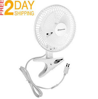 Clip On Small Personal Fan 2 Speed Portable Home Office Table Desk Tilt White .