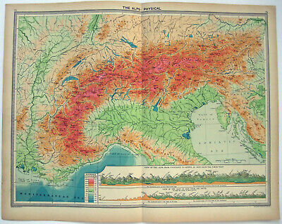 Original 1926 Physical Map of The Alps by George Philip & Son. Vintage