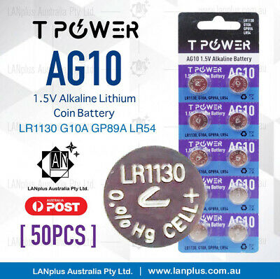 50 X AG10 1.5v LR1130 G10 LR54 189 GP89A 75mAh Alkaline Button Coins Battery